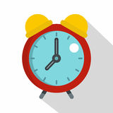Red alarm clock icon, flat style Royalty Free Stock Photography