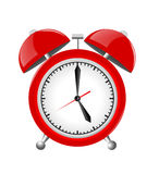 Red Alarm Clock Illustration Isolated on White Royalty Free Stock Photos