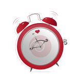 Red alarm clock. Illustration of red ringing alarm clock of valentine Royalty Free Stock Photo