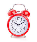 Red alarm clock isolated on white Stock Photo