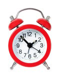 Red alarm clock. Isolated on white background Stock Photo