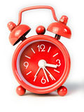 Red alarm clock. Isolated on a white background royalty free stock image
