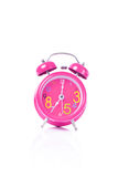 Red alarm clock with isolated white background Stock Photo