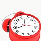 Red alarm clock. Isolated on white background. 3d render Stock Photos