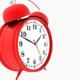 Red alarm clock. Isolated on white background. 3d render Stock Image