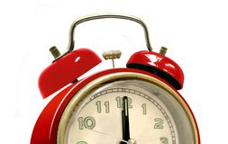 Red alarm clock over white Royalty Free Stock Photo