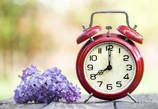 Red alarm clock and purple flower, daylight savings time, spring forward concept. Retro red alarm clock and purple flower, daylight savings time, spring forward stock images