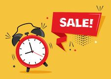 Red alarm clock with ribbon banner with inscription SALE. Vector vector illustration
