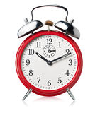 Red alarm clock, ringing. Royalty Free Stock Image