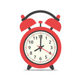 Red alarm clock. Showing eight clock,  on white background. Flat design. Vector illustration Stock Photo