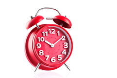 Red alarm clock studio isolated on white background Royalty Free Stock Photography