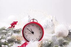 Red alarm clock - symbol of New Year royalty free stock photo