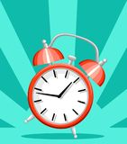 Red alarm clock wake-up time flat style vector illustration isolated on turquoise background website page and mobile app design.  royalty free stock photography