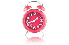 Red alarm clock on white Royalty Free Stock Photo