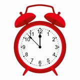 Red alarm clock  on white background. Red clock. Royalty Free Stock Photo
