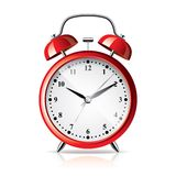 Red alarm clock  on white vector Stock Photos