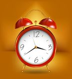 Red alarm clockwith gold details. Vector Royalty Free Stock Image