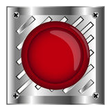 Red alarm shiny button with metal elements, background,stock. Vector,Red web button with chrome, metallic elements, isolated Royalty Free Stock Image