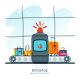 Red alarm siren on scanner warns of dangerous baggage. Vector hand drawn illustration. Stock Images