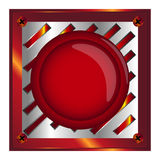 Red alarm,web shiny button with metal elements, background,vector. Red alarm shiny button with metal elements, background,vector,Red web button with chrome Stock Photography