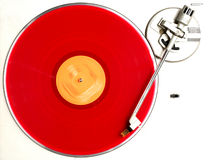 The red album. Red album turning on recordplayer stock images