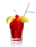 Red alcohol cocktail with lemon slices and cherry Stock Photos