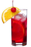 Red alcohol cocktail with orange slice Royalty Free Stock Images