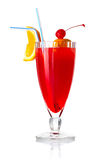 Red alcohol cocktail with orange slice and umbrella  Royalty Free Stock Photo
