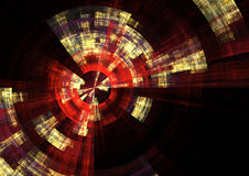 Red alert2. Detail view of sonar screen in fractal form Royalty Free Stock Photos