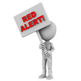 Red alert. Words on a banner held up by a little 3d man against white background Stock Photography