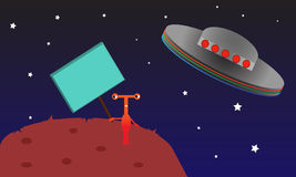 Red Alien Left on Planet. Royalty Free Stock Images