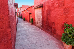 Red Alley in Monastery Stock Image