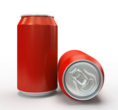Red alluminium cans on white background Stock Images