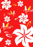 Red Hawaiian background. White seamless Hawaiian flowers on a red background for clothing, fabric, greeting cards, wallpaper, wrapping paper, postcards and more Royalty Free Stock Image