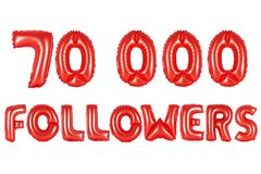 Seventy thousand followers, red color. Red alphabet balloons, 70K seventy thousand followers, red number and letter balloon Royalty Free Stock Photos