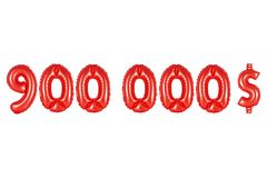 Nine hundred thousand dollars, red color Royalty Free Stock Images