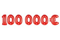 One hundred thousand euros, red color. Red alphabet balloons, one hundred thousand euros, red number and letter balloon Stock Image