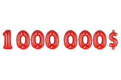 One million dollars, red color Stock Photo