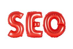 Seo, search engine optimization, red color. Red alphabet balloons, SEO, search engine optimization, red number and letter balloon Stock Photo
