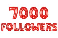 Seven thousand followers, red color Royalty Free Stock Image