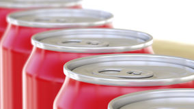 Red aluminum cans on conveyor. Soft drinks or beer production line. Recycling packaging. 3D rendering stock images