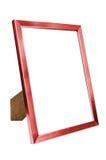 Red aluminum empty photo frame on white background Stock Image