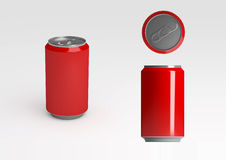 Red Aluminum Soda Can. A red aluminum soft drink or soda can Stock Photography