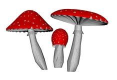Red amanita muscaria mushrooms - 3D render Royalty Free Stock Photos