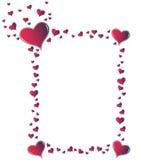 Red amaranth hearts frame. Valentine card. Ideal frame for valentines day portrait Stock Image
