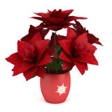Red amaryllis in vase with Christmas decorations Stock Photography