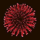 Red amazing firework isolated in dark background close up For 4 of July, Independence day, New Year card.  vector illustration