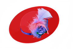 Red amd Purple Ladies Hat with Feathers. A pretty ladies red and purple hat with feathers on white with copy space Royalty Free Stock Images