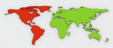 Red American continent in green world map. Red American continent highlighted on green color extruded flat world map with shadow on a grey background stock illustration