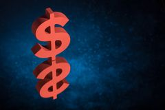 Red US Currency Symbol or Sign With Mirror Reflection on Blue Dusty Background stock photography